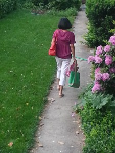 6:57 a.m. and the bag lady leaves the house. Looking for an OTB parlor that opens early.
